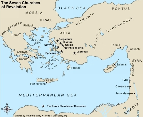 This image depicts the location of Revelation's Seven Churches in Asia Minor
