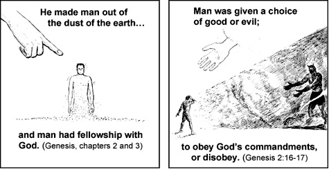 This image by Chick Tracts depicts Adam being created from the dust of the earth